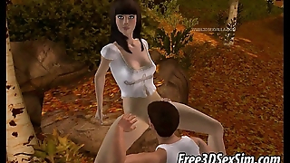 Foxy 3D brunette babe acquiring fucked with reference to the woods