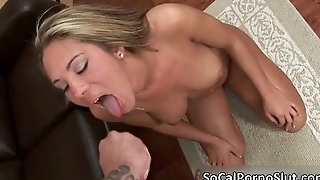 Awesome blonde babe sucks stiff saloon